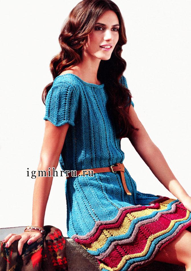 Сине-зеленое платье с пестрой зигзагообразной оборкой, от Verena. Вязание спицами