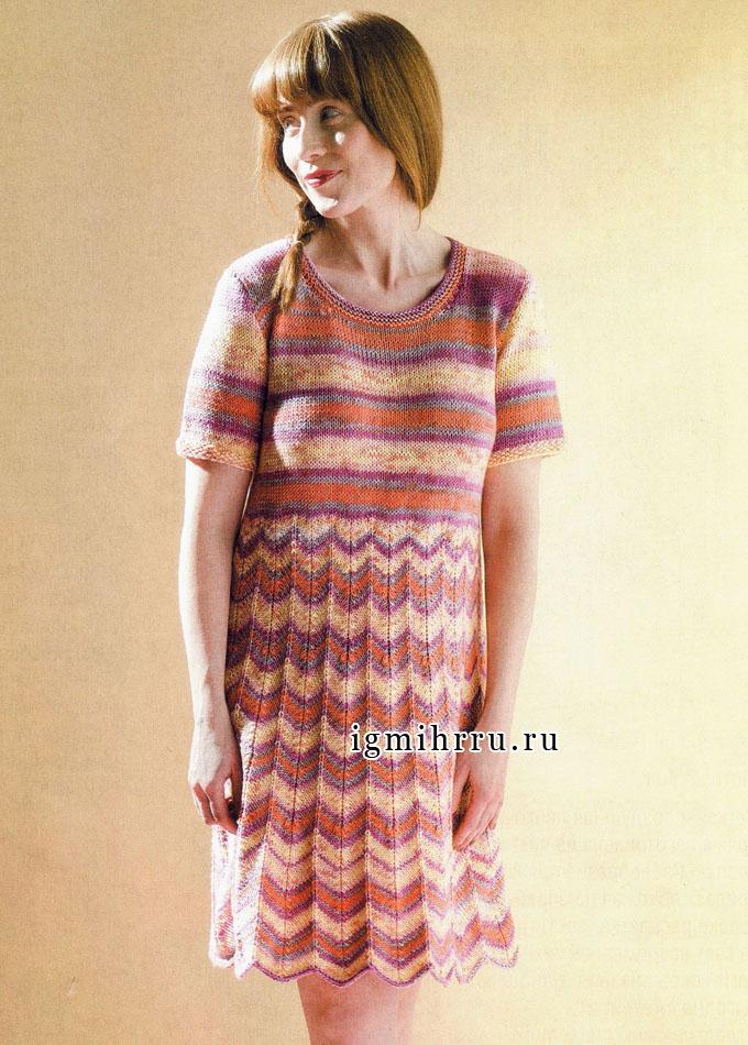 Меланжевое платье с зигзагообразными узорами, от финских дизайнеров. Вязание спицами