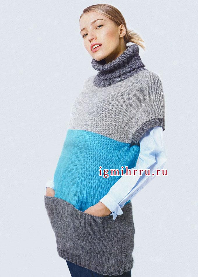 Тепло, практично, удобно! Трехцветная туника с карманами, от финских дизайнеров. Вязание спицами