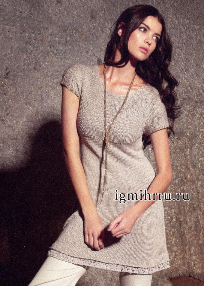 Женственное бежевое платье с ажурным кружевным краем, от Lana Grossa. Вязание спицами