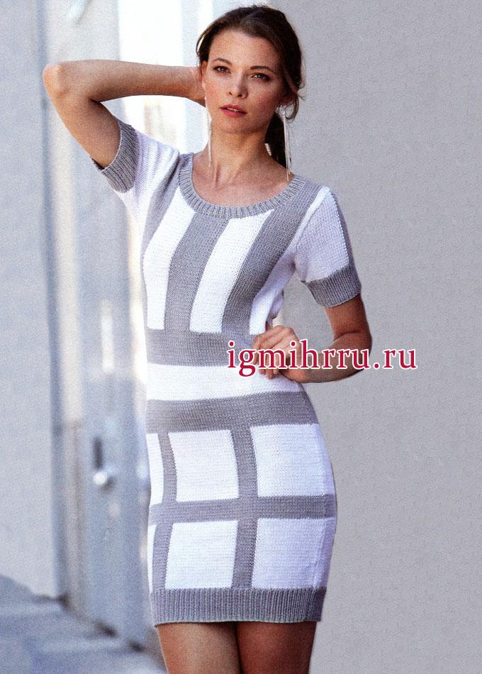 Удобное и практичное платье из клеток и полос. Вязание спицами