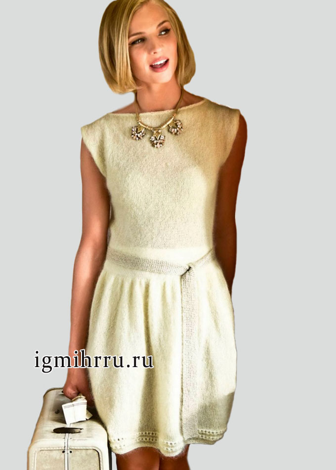 В ретро-стиле! Элегантное желтое платье из мохеровой пряжи с добавлением шелка. Вязание спицами