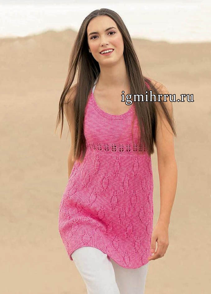 Розовая летняя туника с узором из ромбов. Вязание спицами