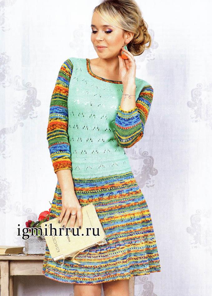 Нарядное платье разнообразных цветовых оттенков. Вязание спицами