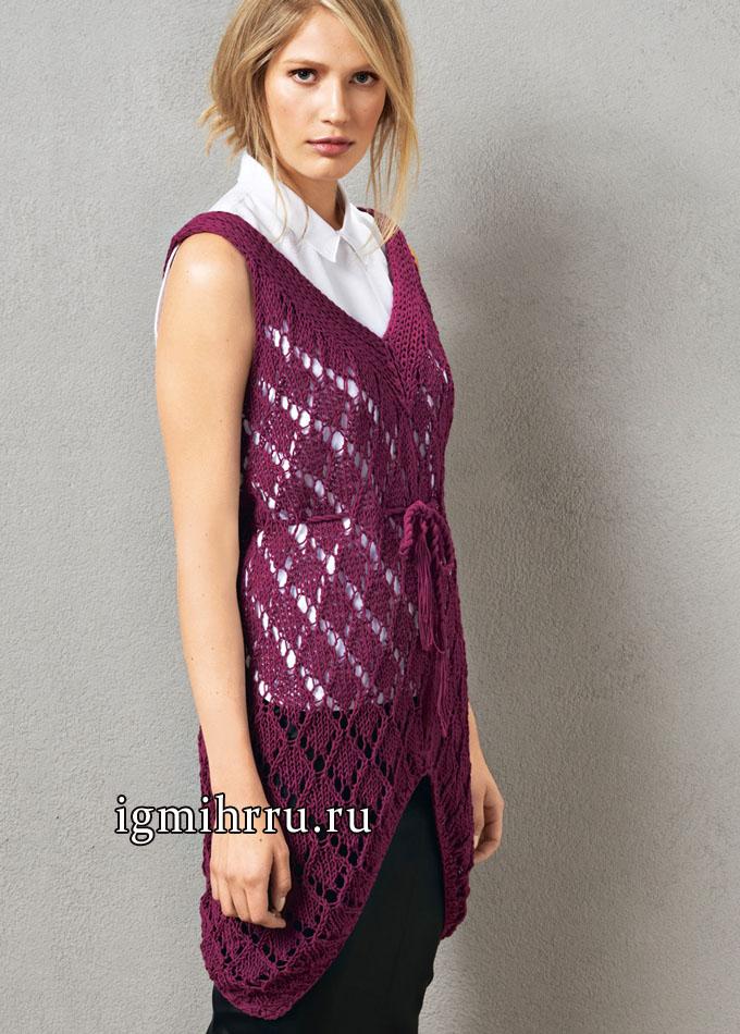 Женственная ажурная туника цвета фуксии. Вязание спицами