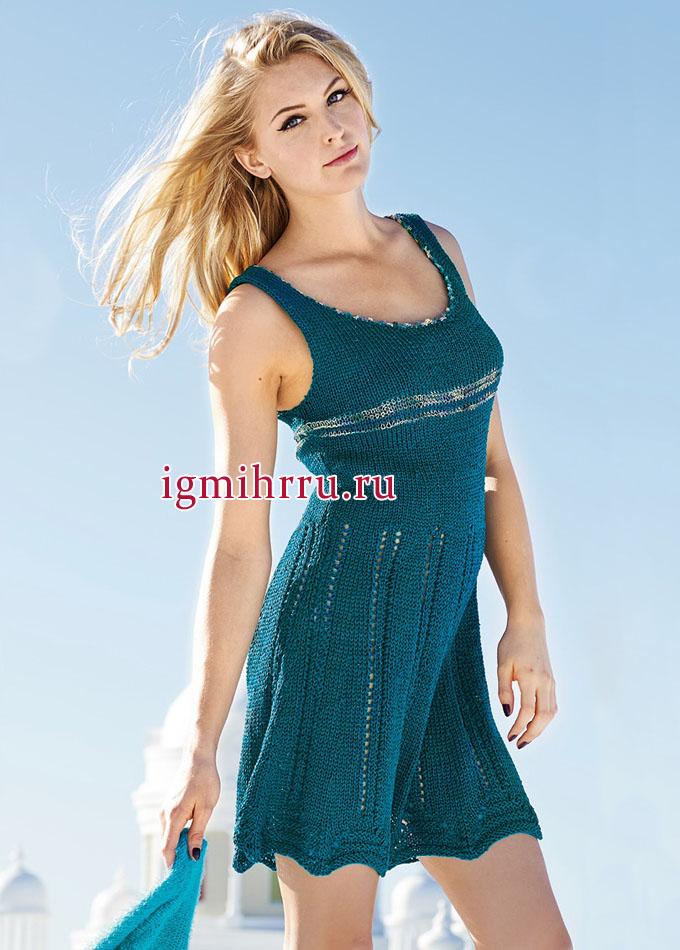 Летнее сине-зеленое платье с ажурными дорожками и юбкой-колоколом, от немецких дизайнеров. Вязание спицами