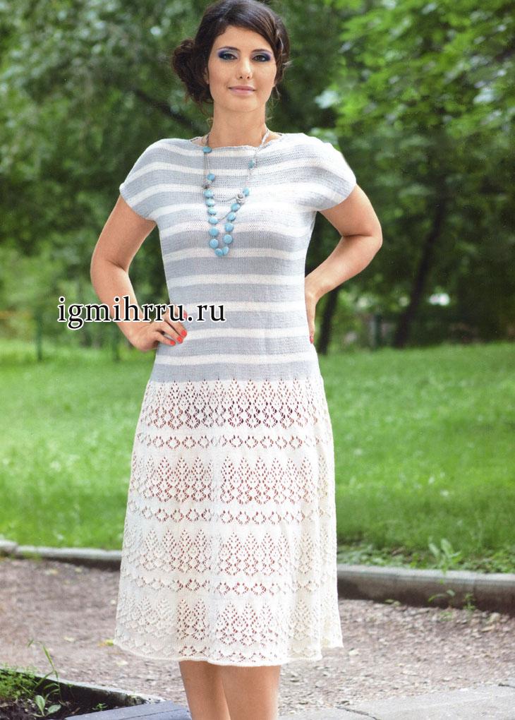 Платье серо-кремового цвета с ажурами и полосками. Вязание спицами
