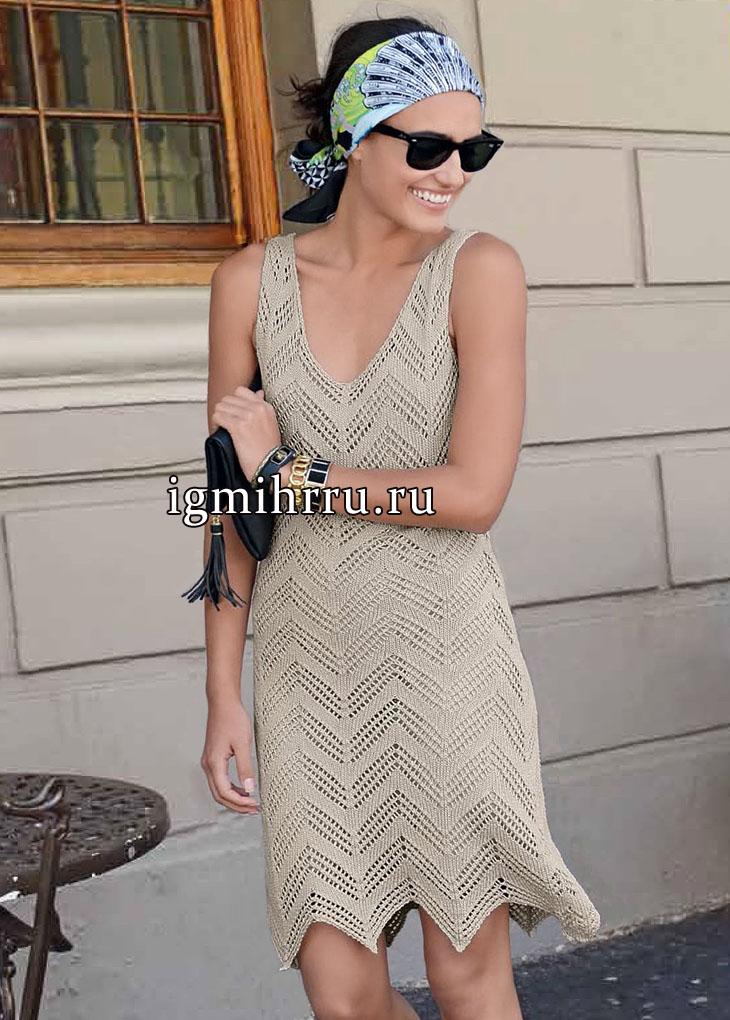 Ажурное летнее платье кремового цвета, с зубчатым низом, от французских дизайнеров. Вязание спицами