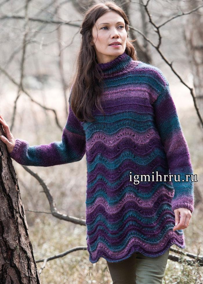 Меланжевая шерстяная туника с волнистым узором, от финских дизайнеров. Вязание спицами
