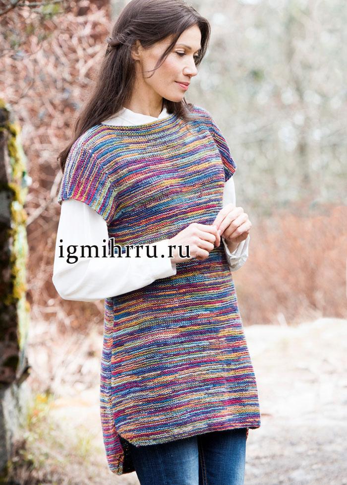 Шерстяная туника из разноцветной меланжевой пряжи, от финских дизайнеров. Вязание спицами