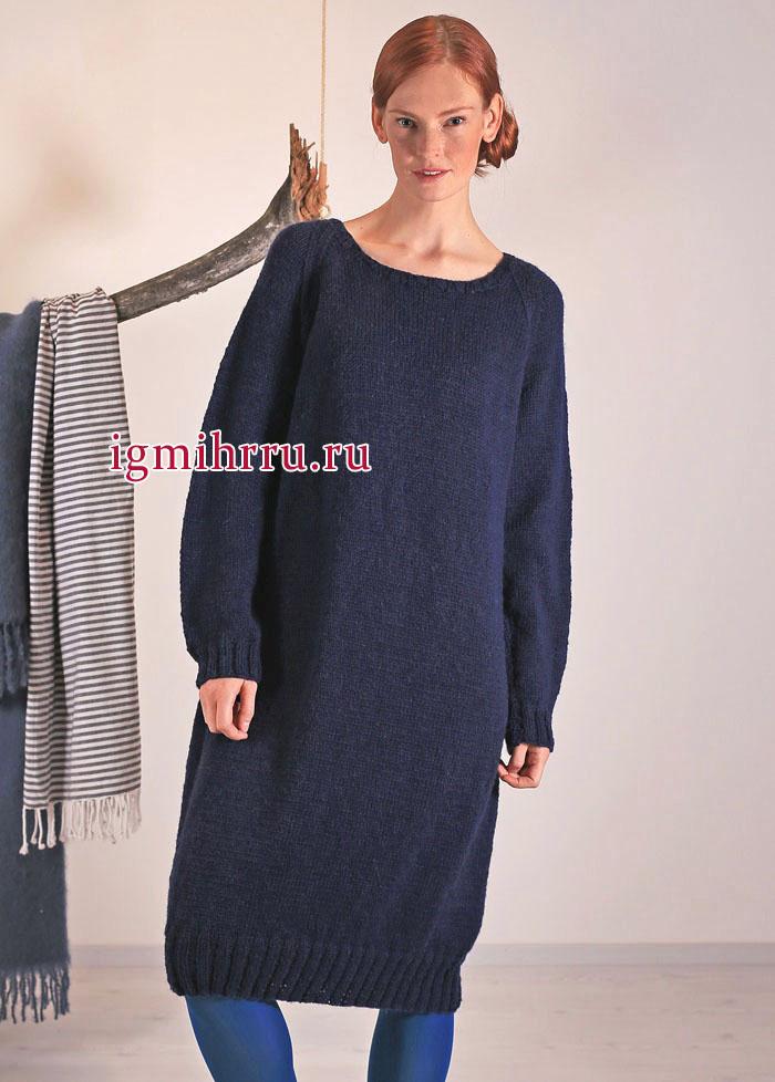 Простое домашнее платье из чистошерстяной синей пряжи, от финских дизайнеров. Вязание спицами