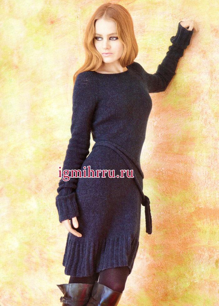 Тепло и удобно! Простое темно-синее платье с удлиненными рукавами и поясом. Вязание спицами