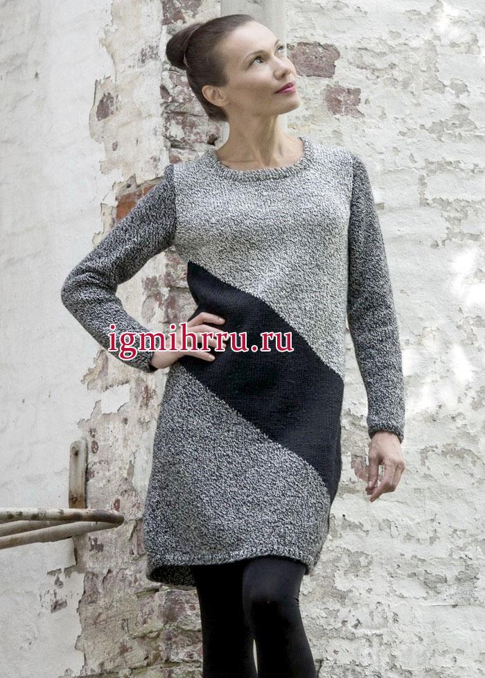 Теплое меланжевое платье в дымчато-серых тонах, с диагональной черной полосой. Вязание спицами