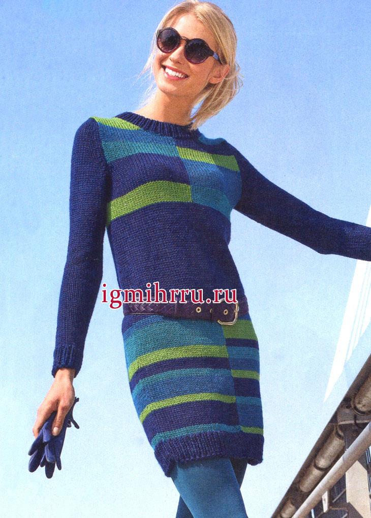 Теплое платье с разноцветными полосами и прямоугольниками. Вязание спицами
