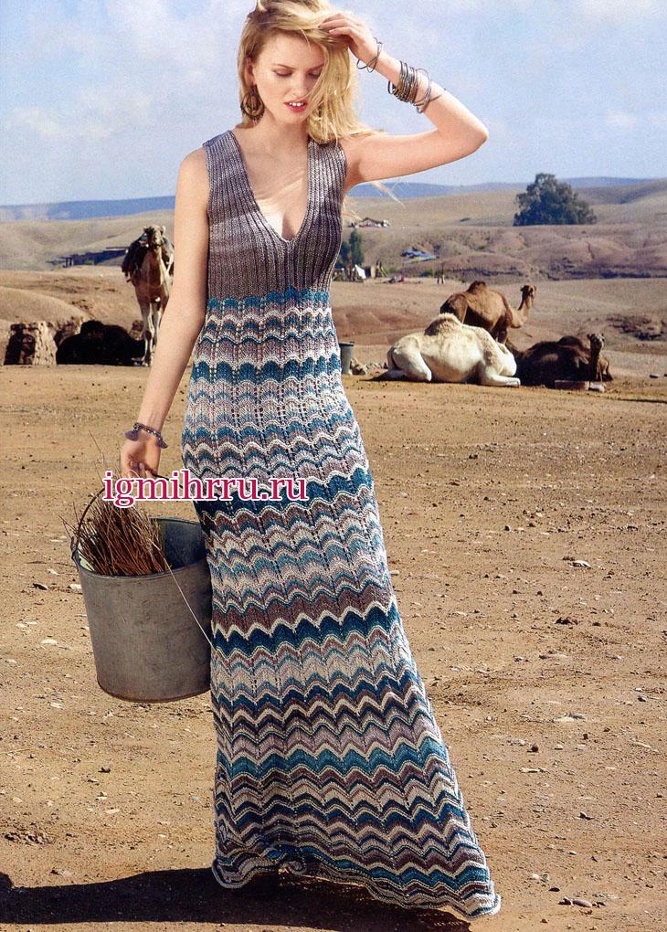 готовимся к лету длинное платье с волнистыми зигзагообразными