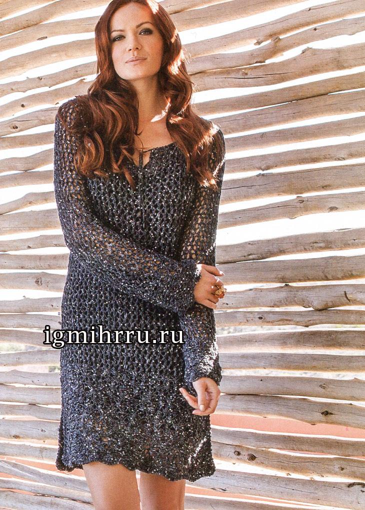 Темно-серое платье с ажурной косой и узором-сеткой. Вязание спицами