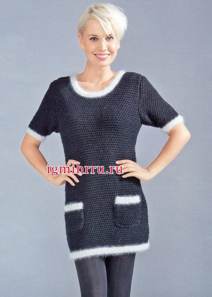 Маленькое черное платье с белым декором. Вязание спицами