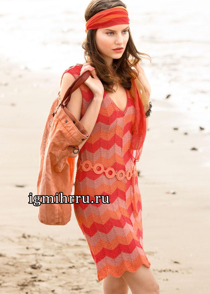 Летнее платье в красных тонах, с зубчатым узором. Вязание спицами