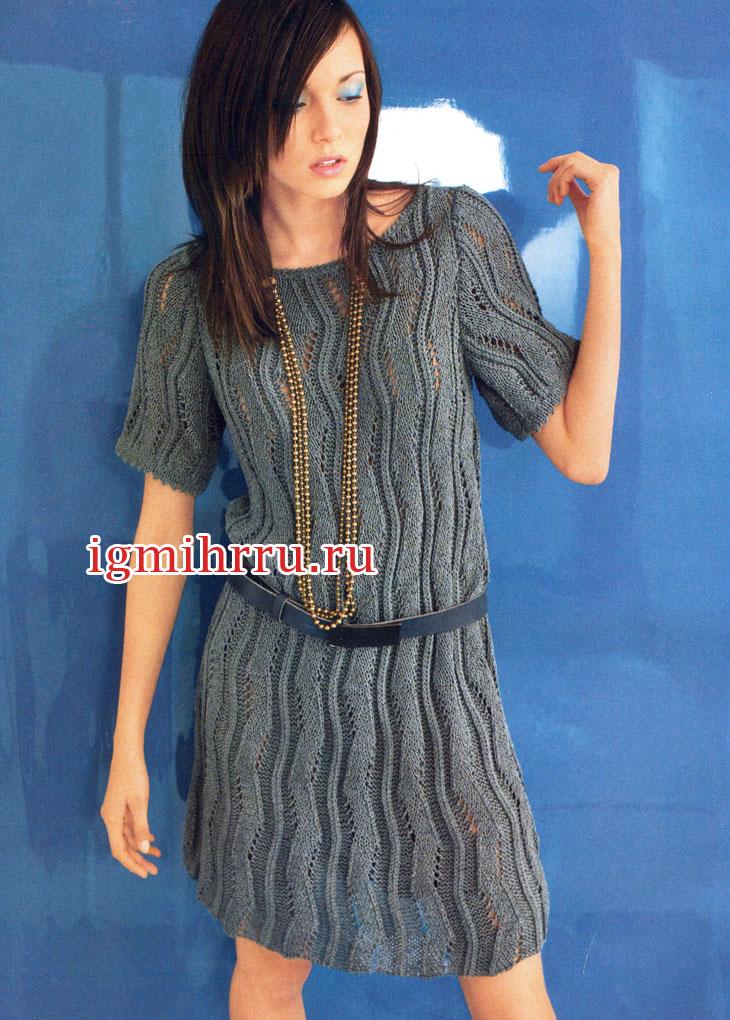 Непринужденная красота! Серое узорчатое платье с короткими рукавами. Вязание спицами