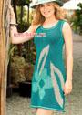 Летнее платье  без рукавов, с крупным цветочным мотивом. Спицы