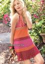 Разноцветное летнее платье с ажурными вставками и бордюром. Спицы