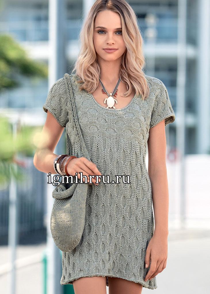 Короткое серое платье с рельефным узором с глазками. Вязание спицами