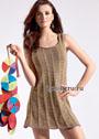 Расклешенное летнее мини-платье в полоску, связанное вкруговую. Спицы