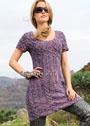 Меланжевое платье с сочетанием рельефных и ажурных узоров. Спицы