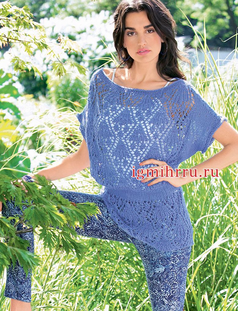 Ажурная летняя туника серо-голубого цвета. Вязание спицами