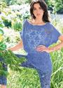 Ажурная летняя туника серо-голубого цвета. Спицы