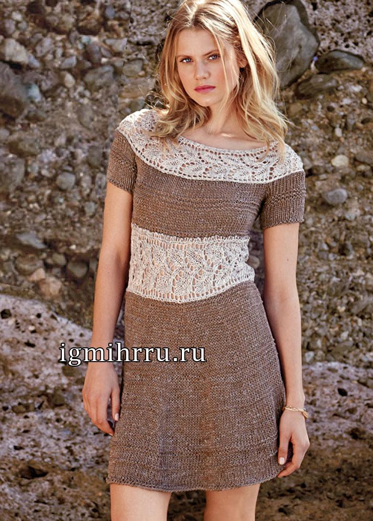 Романтичное платье с ажурными вставками из листочков. Вязание спицами