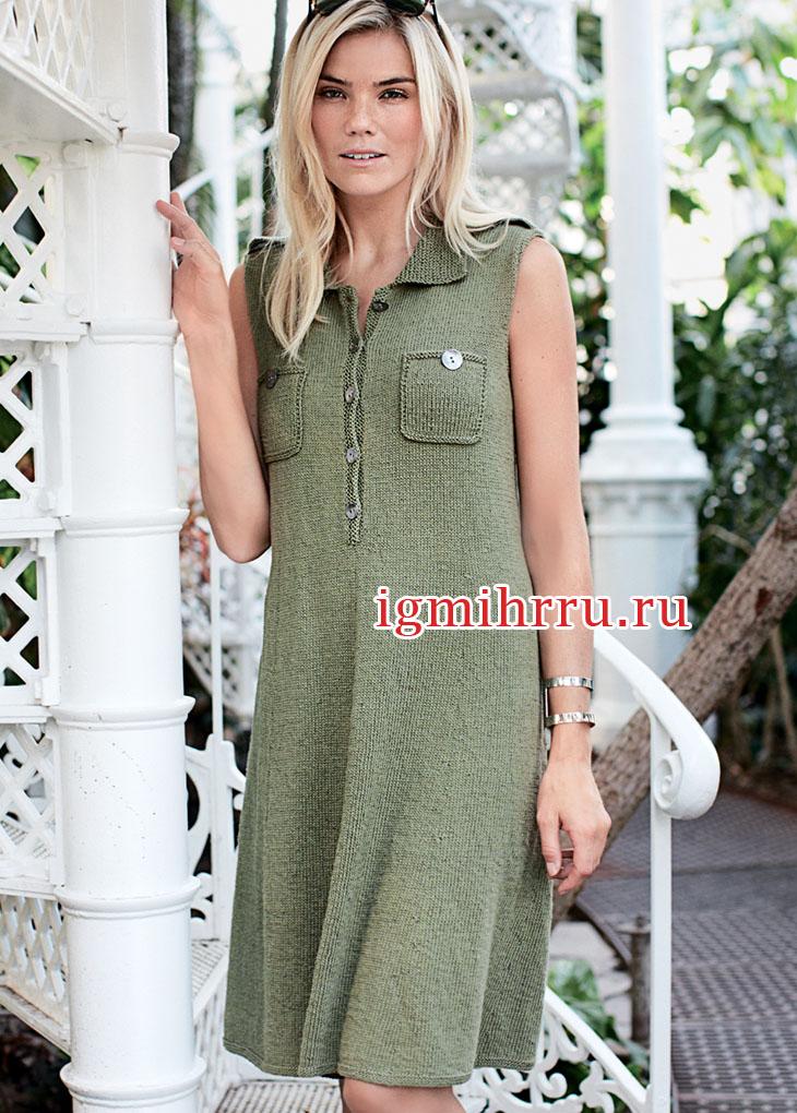 Платье-рубашка с погонами и нагрудными карманами. Вязание спицами