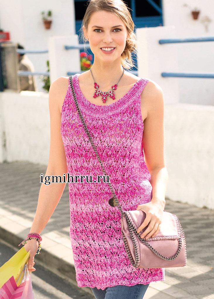 Розово-белая летняя туника с ажурным узором. Вязание спицами