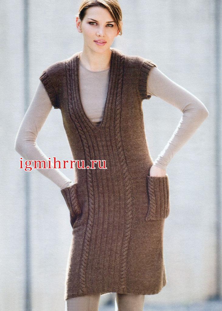Комфортное теплое платье-сарафан с карманами. Вязание спицами