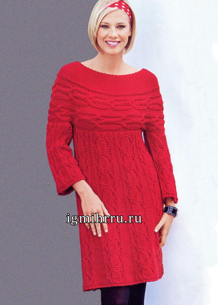 Красное шерстяное платье с круглой кокеткой. Вязание спицами