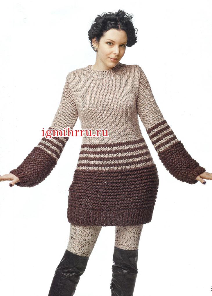 Просто, удобно, тепло! Бежево-коричневое платье. Вязание спицами