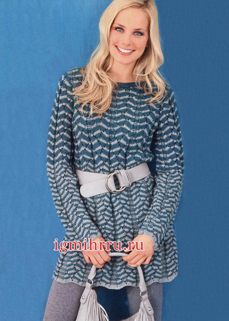 Шерстяное платье с двухцветным волнистым узором. Вязание спицами