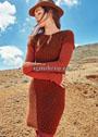 Шерстяное платье с ажурным сетчатым узором. Спицы