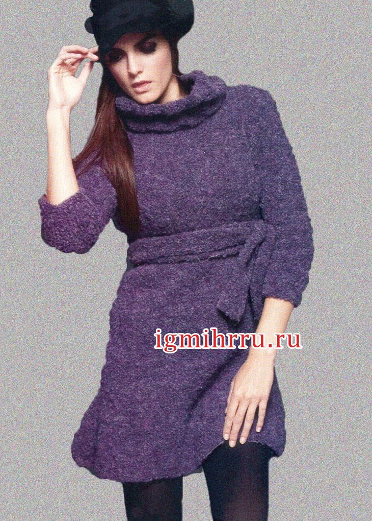 1c39d94d78f9a41 Фиолетовое теплое платье с расклешенной юбкой. Вязание спицами