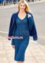 Женственное синее платье с миксом ажурных узоров. Спицы