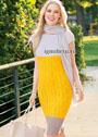 Летнее трехцветное платье с ажурным узором. Спицы