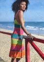 Летнее разноцветное платье на бретелях. Спицы