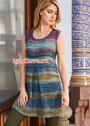 Разноцветное летнее мини-платье со складкой. Спицы