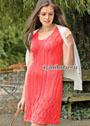 Розовое летнее платье с ажурными узорами. Спицы
