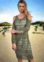 Летнее серо-оливковое платье с узором сетка. Спицы