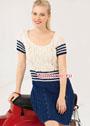 Сине-белое платье в морском стиле. Спицы