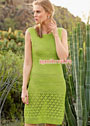 Летнее зеленое платье с кружевными узорами. Спицы