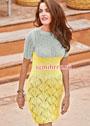 Двухцветное платье с ажурной юбкой. Спицы