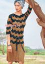 Ажурное платье с волнистым узором. Спицы