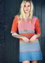 Разноцветное платье в полоску, с плиссированной оборкой. Спицы и крючок